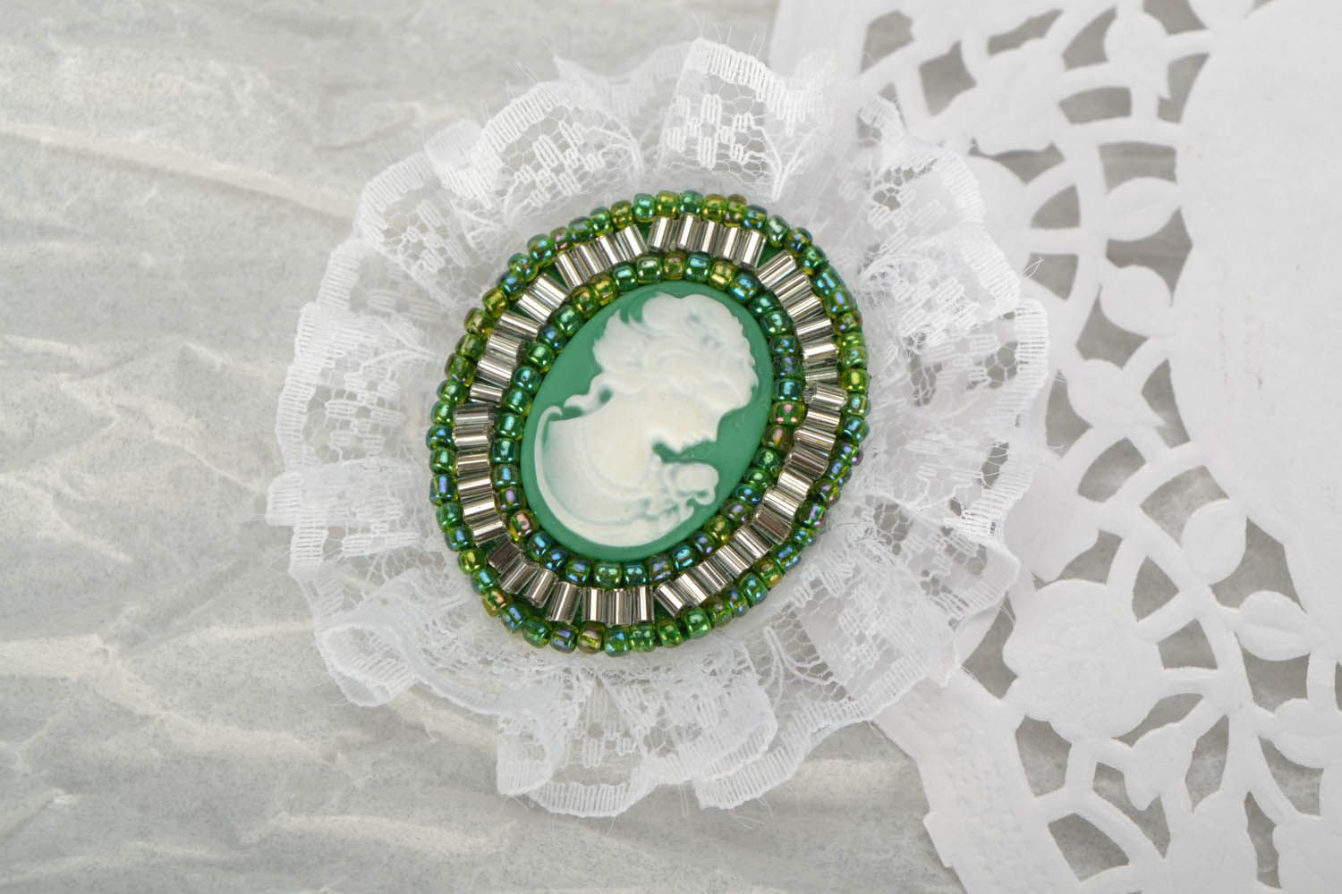 cameo brooches Brooch with lace
