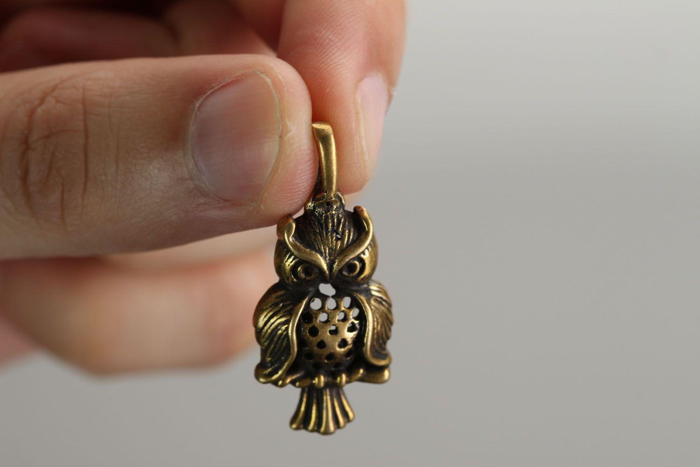 Bronze pendant Owl photo 3