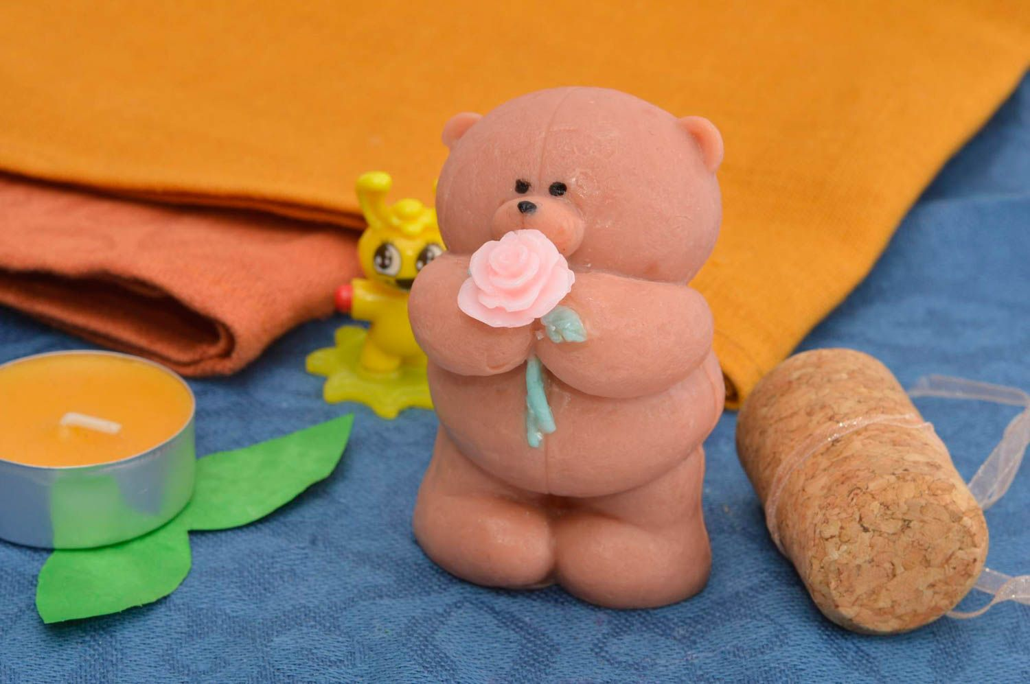 Handmade soap natural soap teddy-bear with rose natural cosmetic aroma soap photo 1