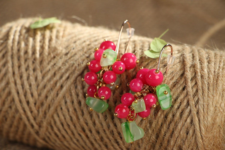 Handmade earrings with natural stones Berries photo 3