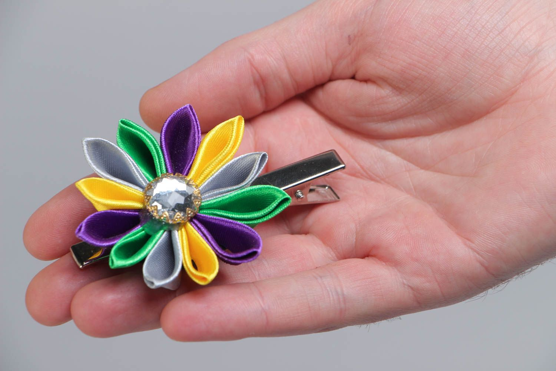 Handmade hair clip with colorful satin ribbon kanzashi flower with rhinestone photo 5