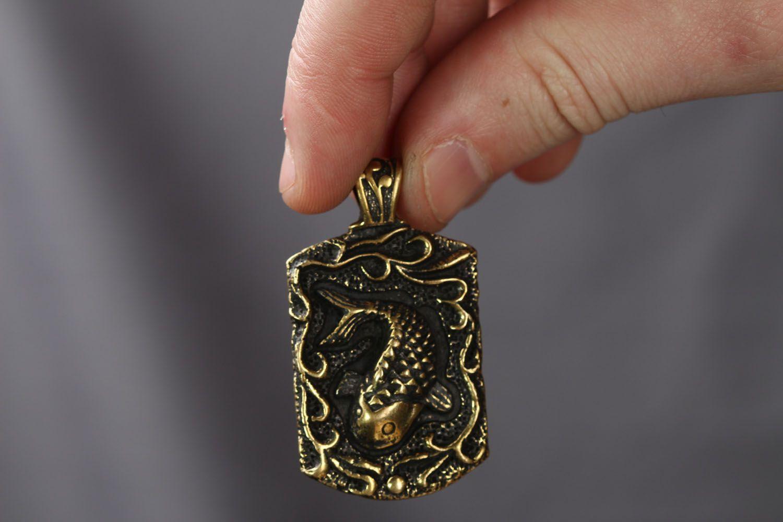 Handmade bronze pendant Fish  photo 4