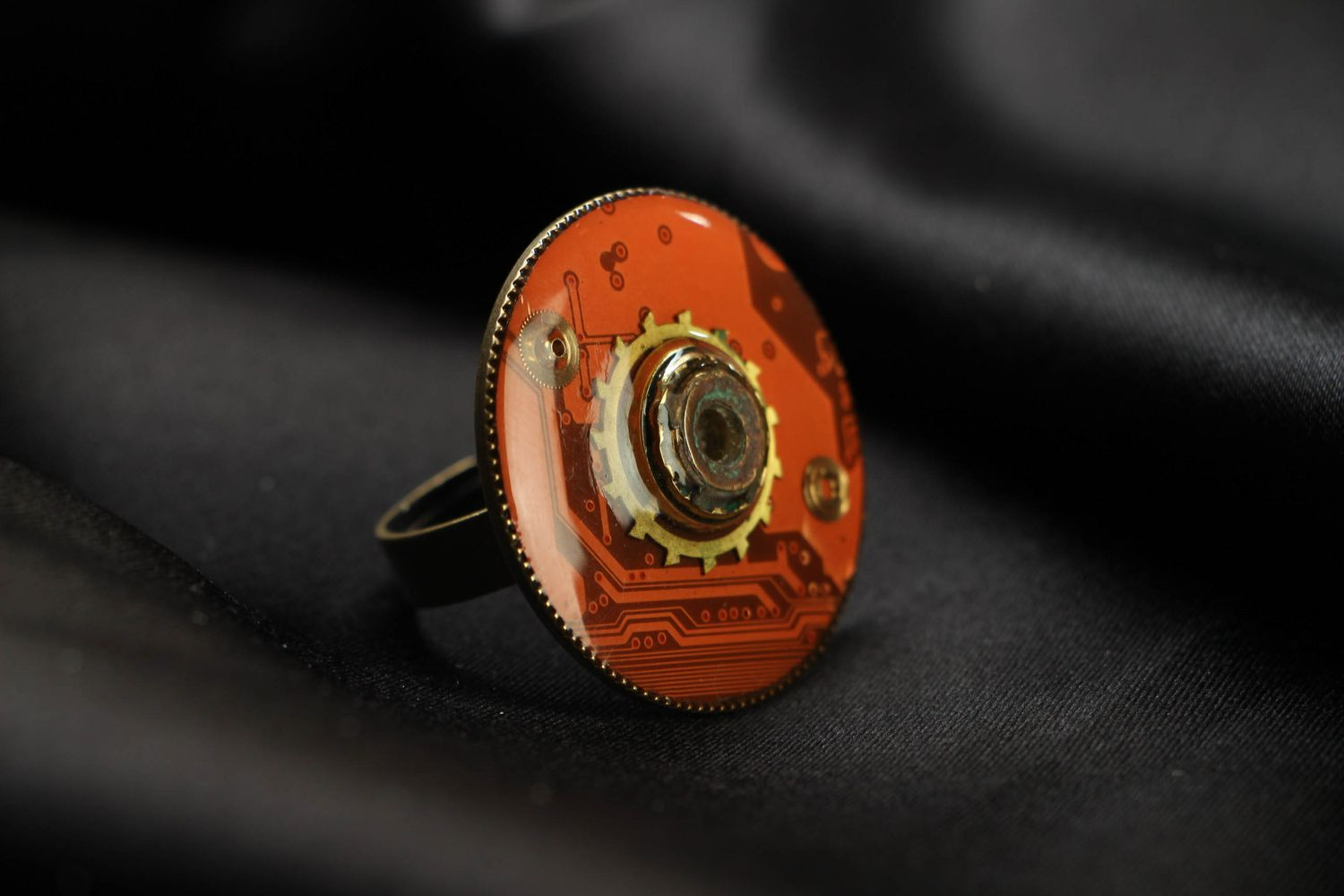 Large metal ring in cyberpunk style photo 1