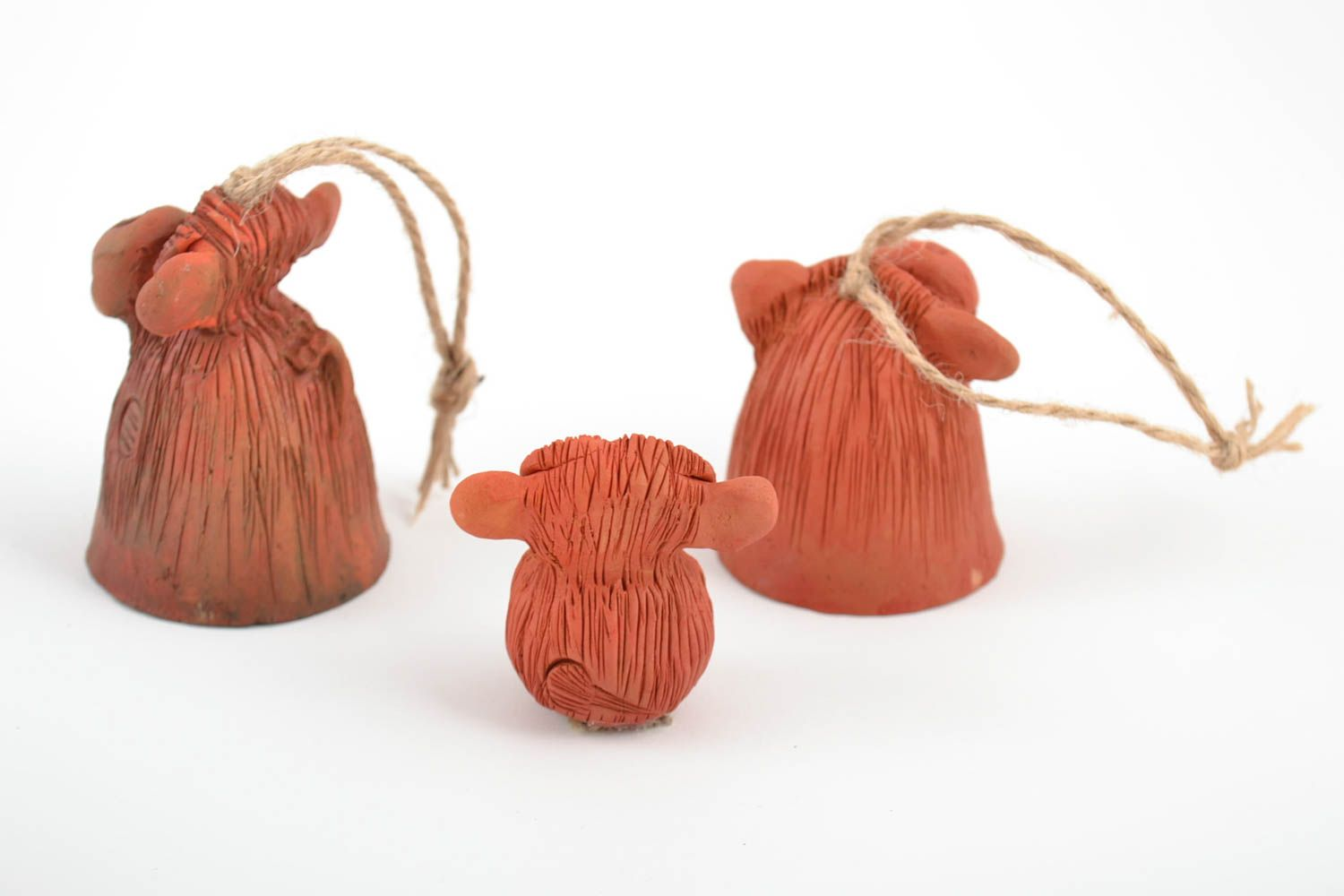 Set of handmade ceramic bells and figurine in the form of monkeys for home decor photo 5