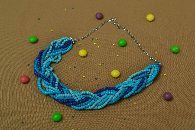 Blue beaded necklace photo 5