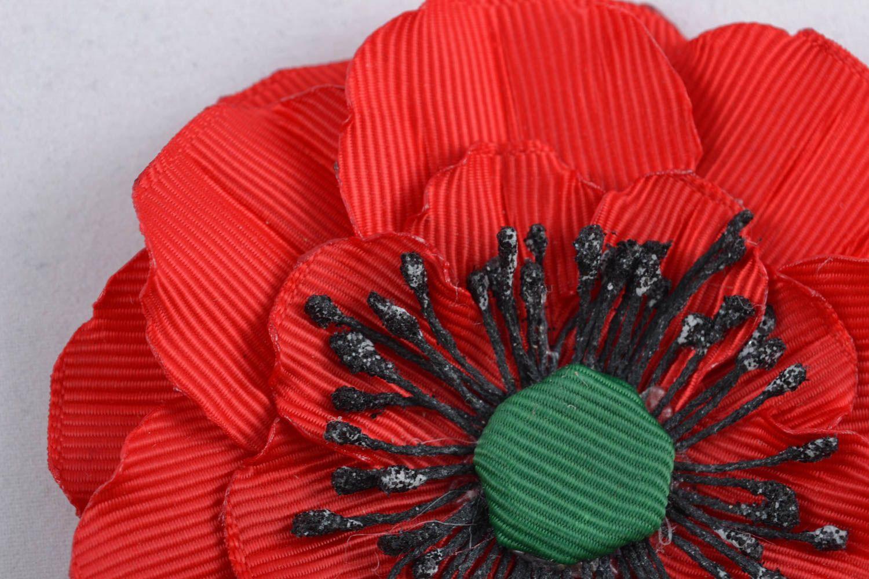 Ribbon flower for hair clip Poppy photo 3