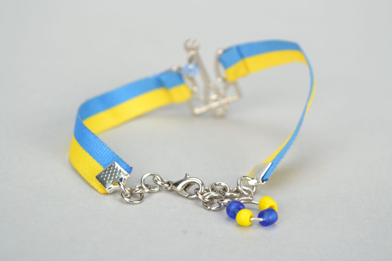 Gelb blaues Armband aus Textil foto 3