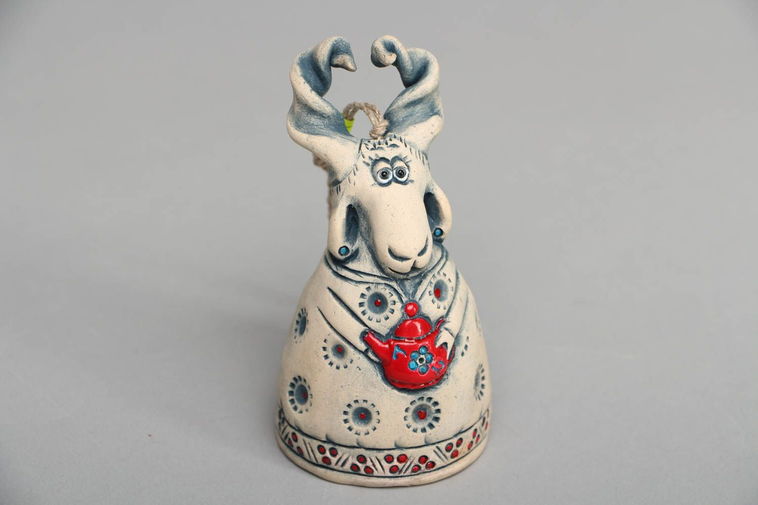 Beautiful designer ceramic bell in the shape of goat photo 1