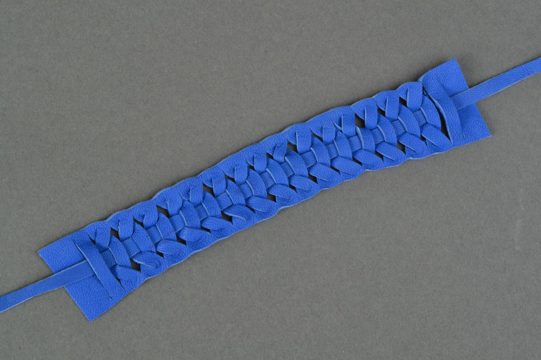 Blue woven genuine leather bracelet Electric  photo 3