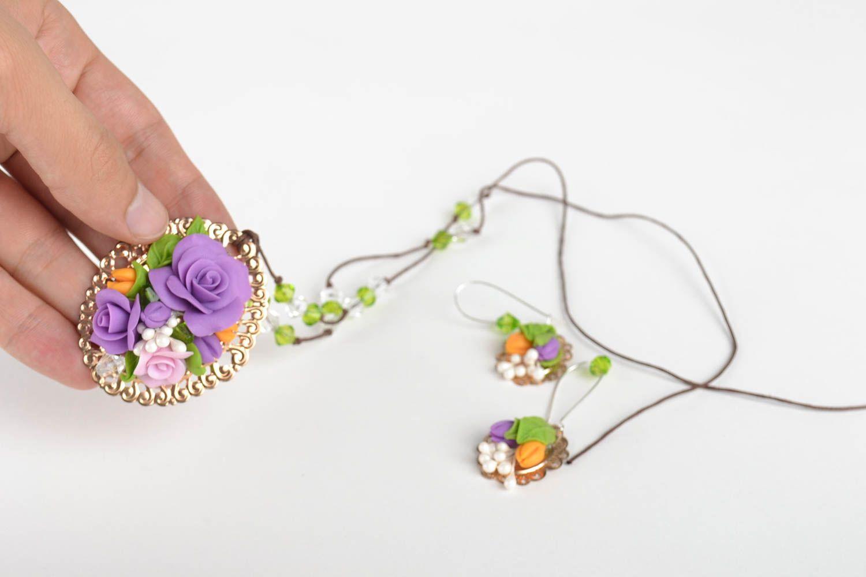 Jewelry set flower jewelry handmade earrings pendant necklace fashion jewelry photo 5