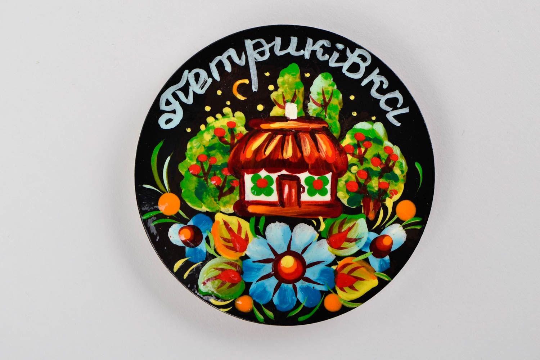 Decorative handmade wooden fridge magnet Petrikov painting decorative use only photo 4