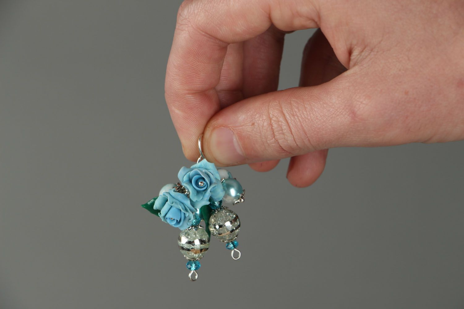 Earrings with charms Blue Roses photo 3