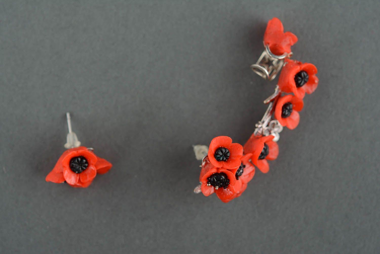 Handmade cuff earrings Poppies photo 2