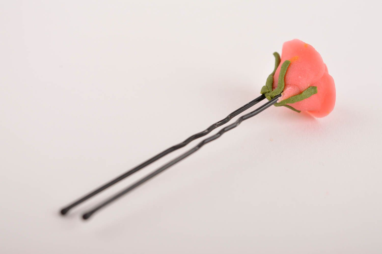 Handmade hair pin designer hair pin unusual accessories hair pin with flower photo 4