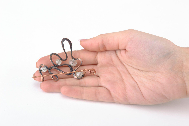 Wire wrap copper brooch photo 4