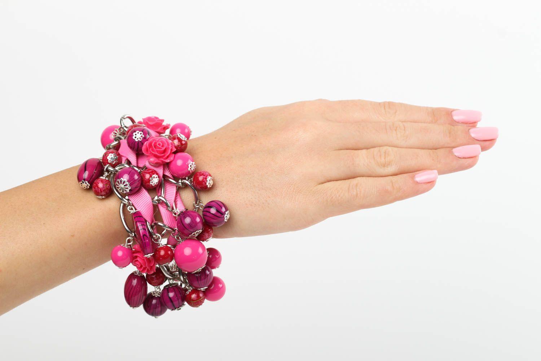 Браслет ручной работы браслет из бусин женский браслет из керамики и пластика фото 1