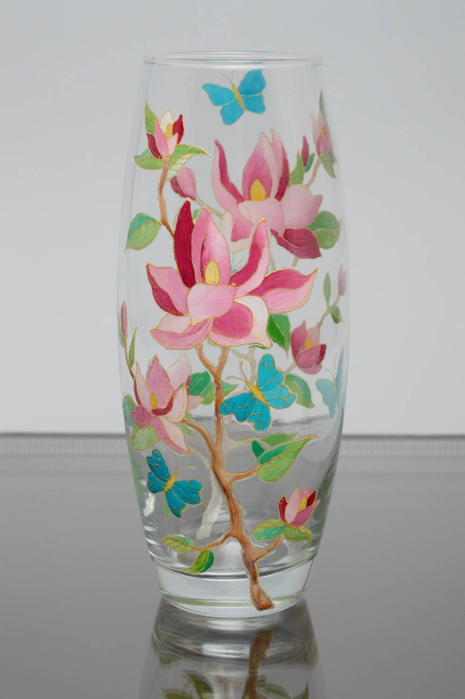 madeheart vase fleurs en verre peint de couleurs vitrail original fait main d cor maison. Black Bedroom Furniture Sets. Home Design Ideas