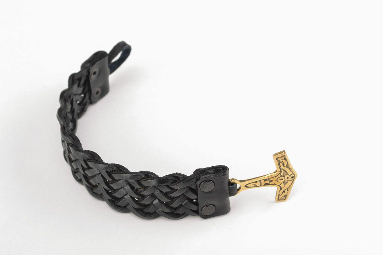 Плетеный браслет из кожи Молот Тора фото 1