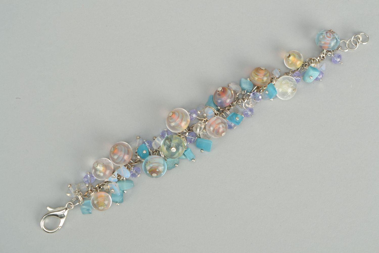Lampwork glass bracelet Sea Stones photo 6