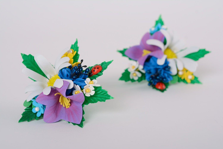 Set of handmade women's foamiran flower scrunchies in the shape of flower bouquets 2 items photo 1