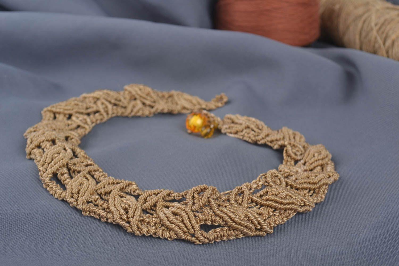 Beautiful brown necklace stylish textile accessory handmade designer nekcace photo 1