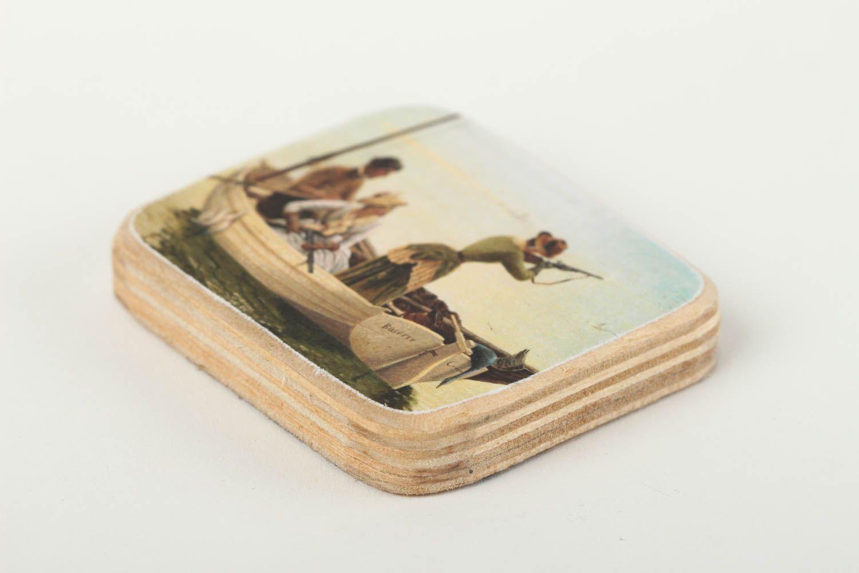 Handmade cute fridge magnet unusual wooden souvenir decorative use only photo 2