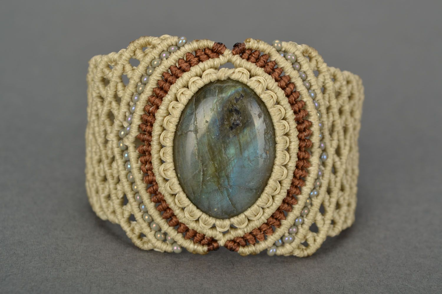 Woven bracelet with labradorite photo 1