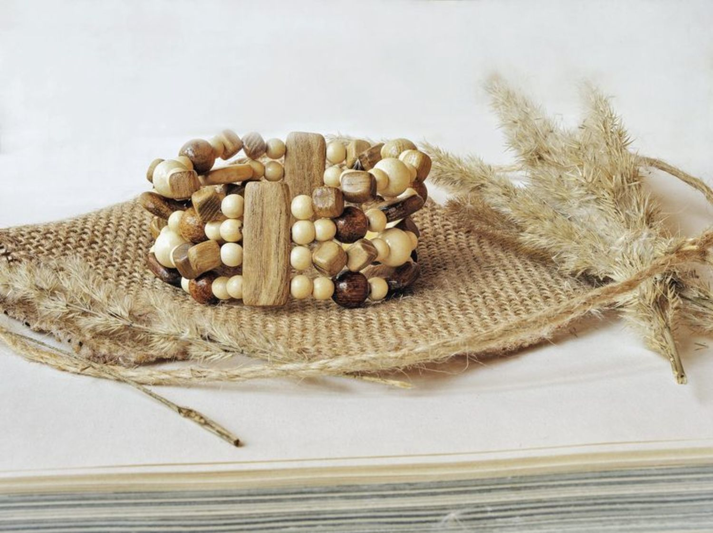 Wooden multi-row bracelet photo 2