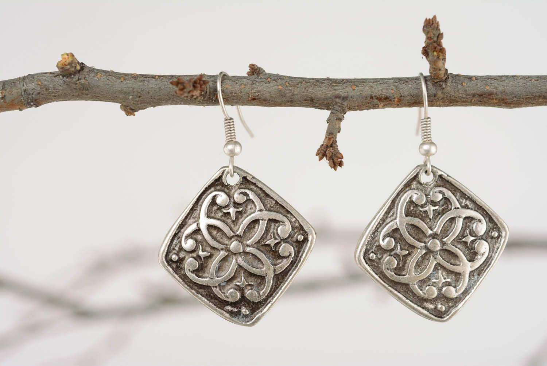 Handmade metal pendant earrings  photo 1