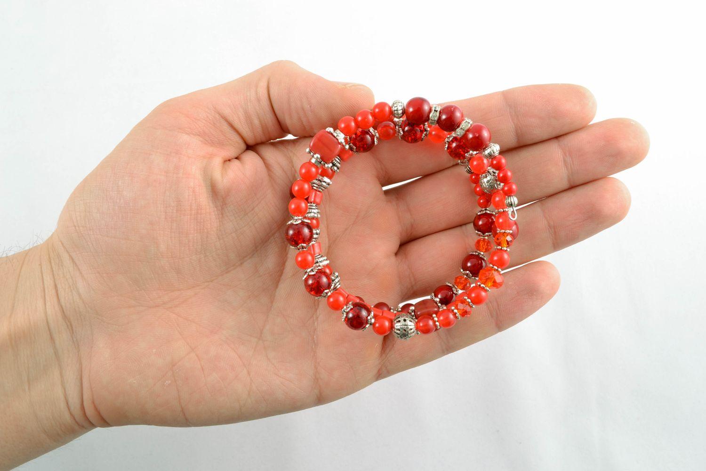 Многорядный браслет из бусин плетеный фото 2