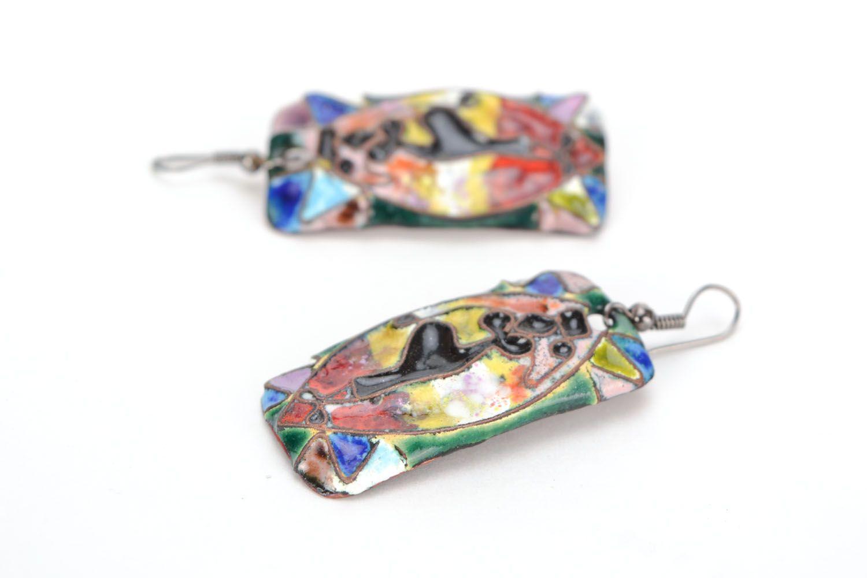 Rectangular copper earrings Dancing Africa photo 4