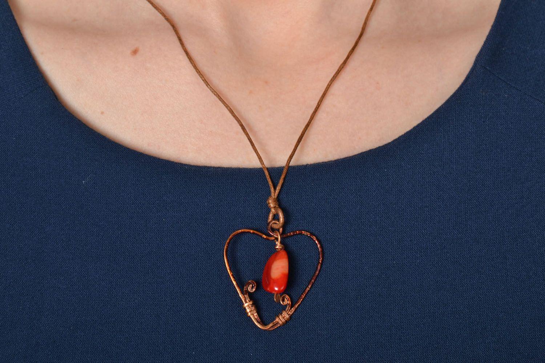 Heart-shaped copper pendant photo 2