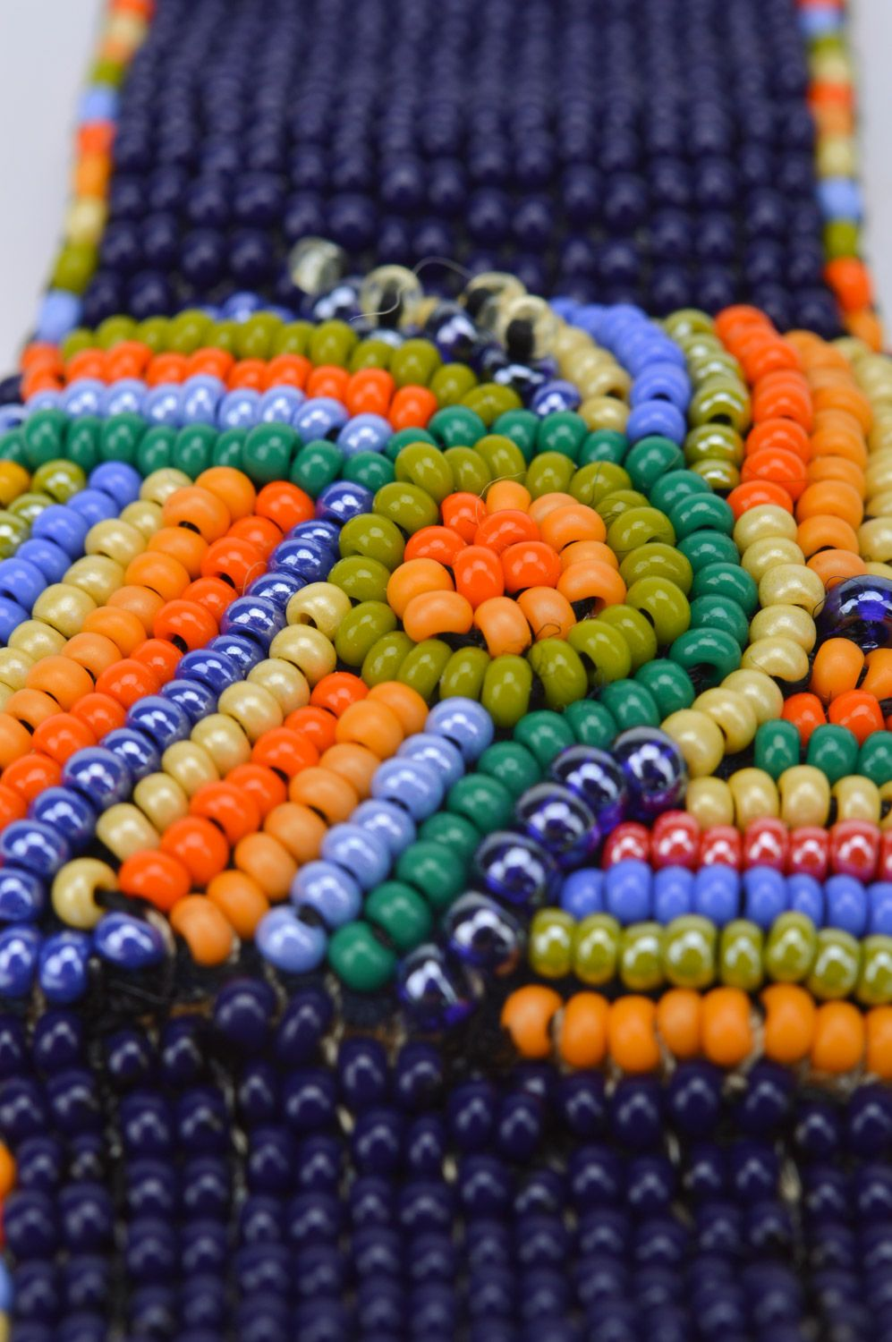 Bright handmade wide woven bead necklace on leather basis photo 4