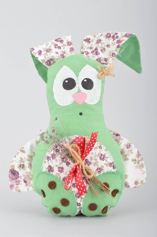 Handmade decorative soft toy sachet pillow green rabbit with lavender  photo 2