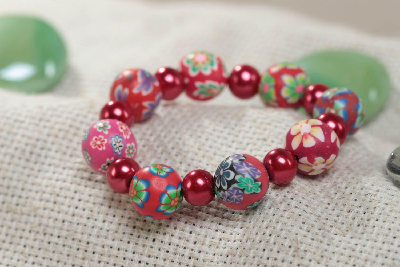Beautiful Children S Handmade Polymer Clay Wrist Bracelet With Beads Designer