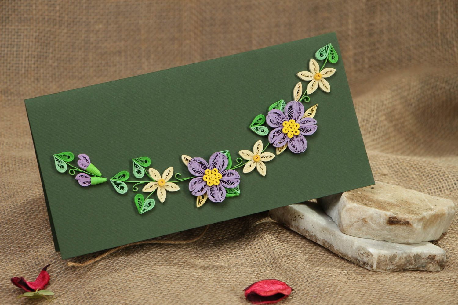 Long greeting card with flowers photo 5