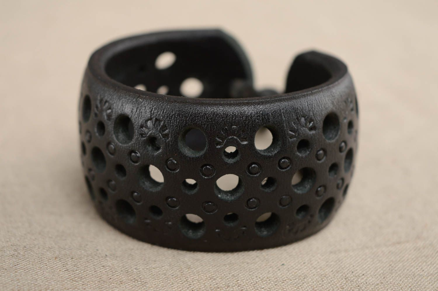 Wide leather bracelet with carving and embossing photo 4