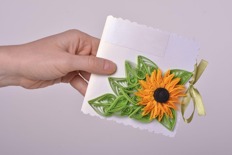 Handmade designer cardboard stylish invitation card unusual flower decor photo 4