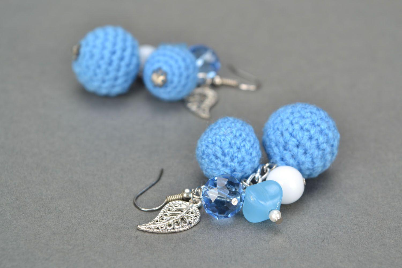 Crochet bead earrings photo 1