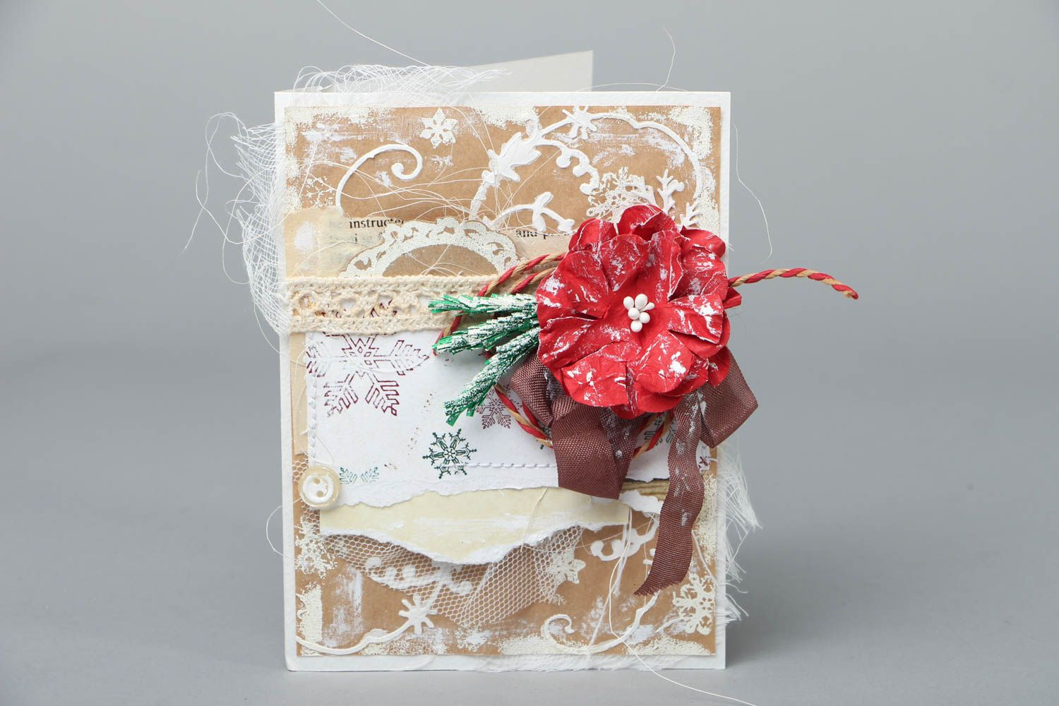 Christmas greeting card with flower photo 1