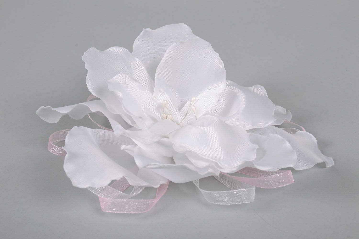 Flower hair clip made of satin ribbons photo 3