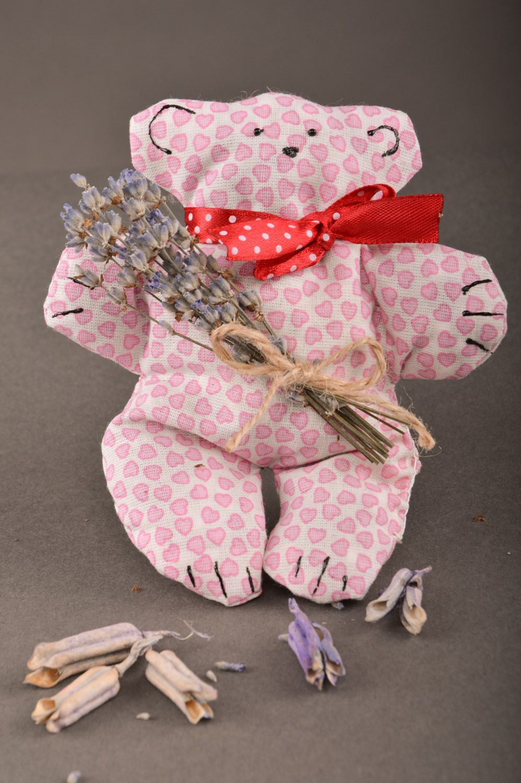 Handmade pink soft sachet pillow with herbs toy bear photo 1