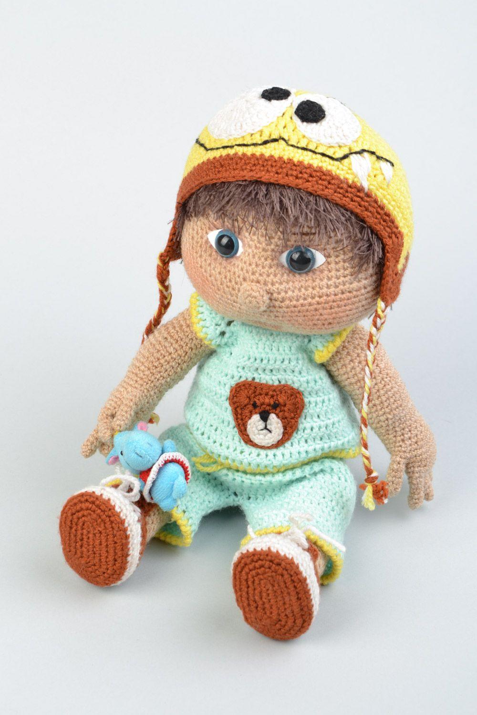 MADEHEART > Мягкая вязаная игрушка мальчик кукла крючком ...