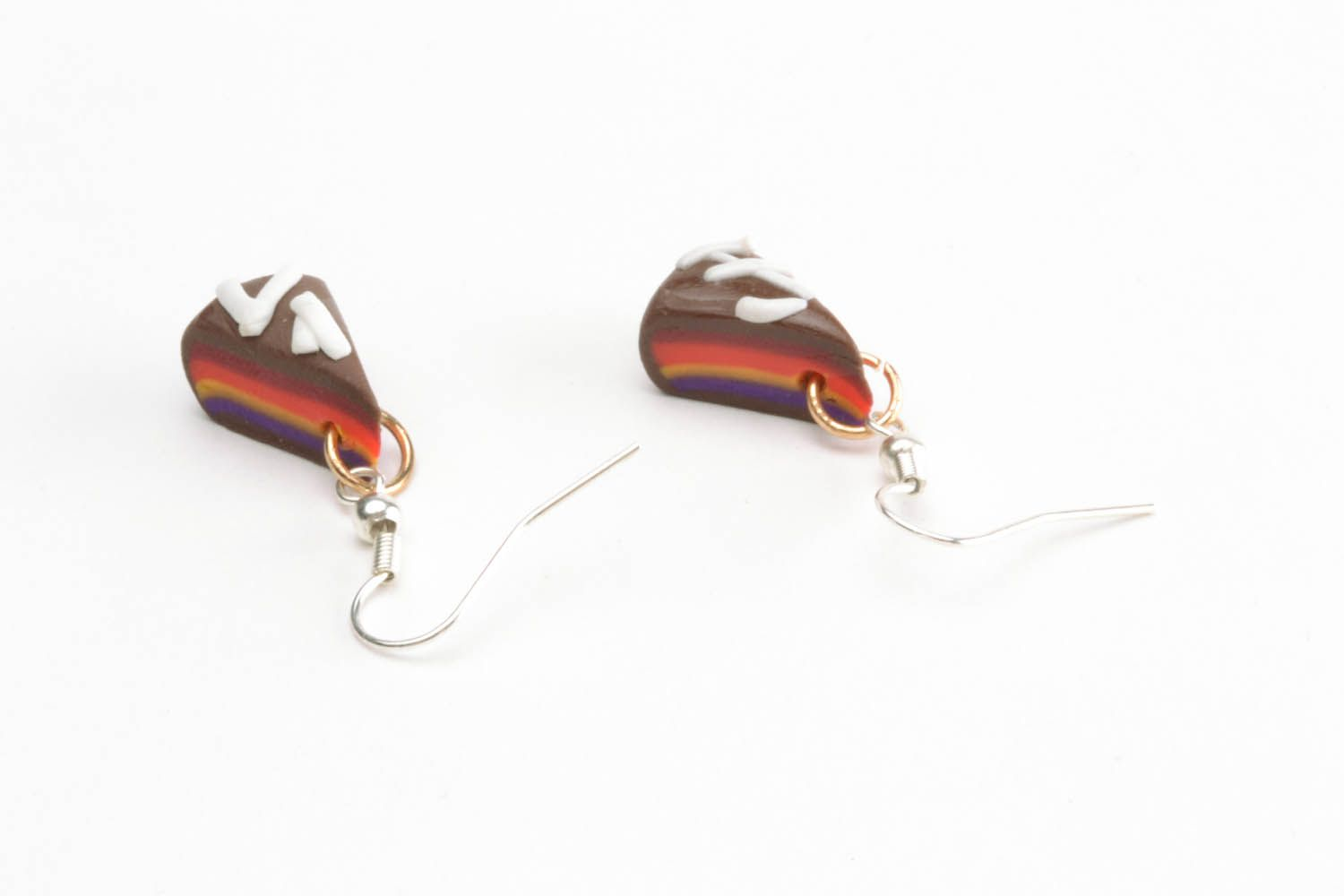 Polymer clay earrings in the shape of cakes photo 2
