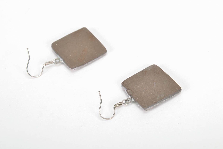 Square ceramic earrings photo 4