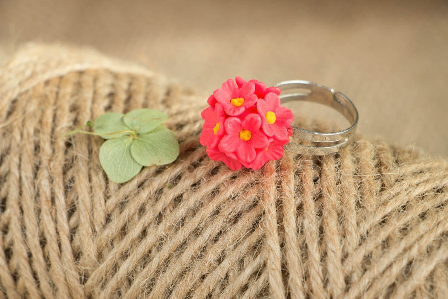 Polymer clay ring Pink Forget-me-nots photo 3