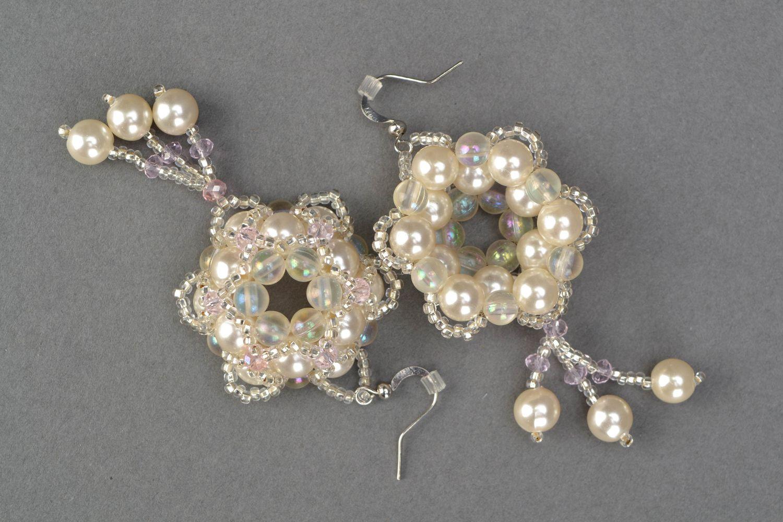 Crystal bead earrings Tenderness photo 4