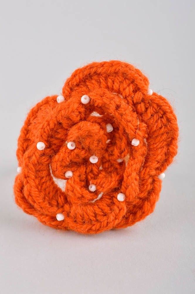 Handmade flower hair scrunchy hair accessories crochet barrette present for girl photo 3