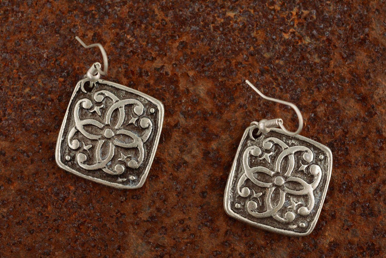 Handmade metal pendant earrings  photo 4
