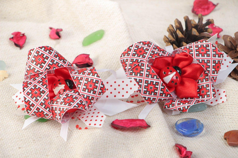 Set of handmade kanzashi satin fabric hair ties 2 pieces for girl photo 1